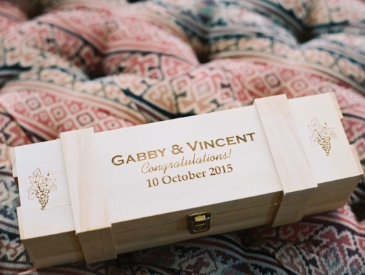 Wood box with clasp wood burned couples names, wedding date, congratulations, grape motif
