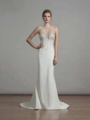 Liancarlo spring 2018 Italian stars flowers embroidery illusion top matte crepe mermaid gown bridal