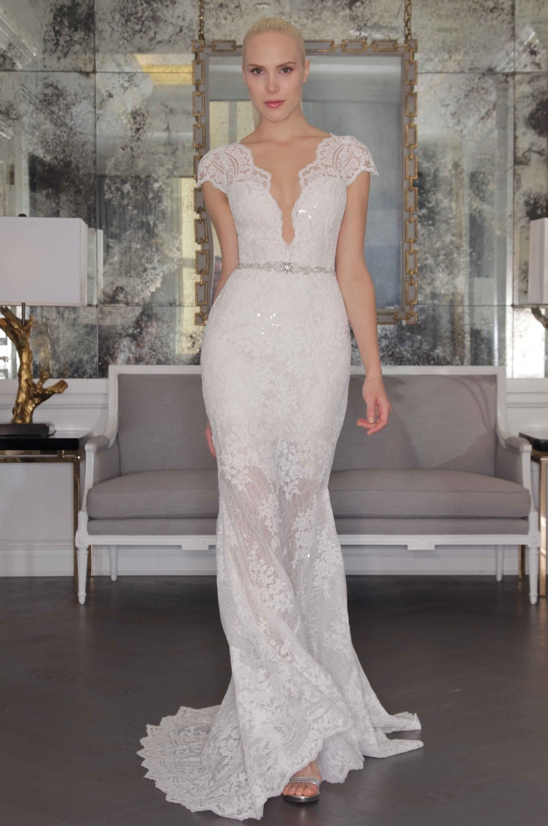 grecian style wedding dress Romona Keveza Luxe Bridal Fall lace wedding dress with cap sleeves