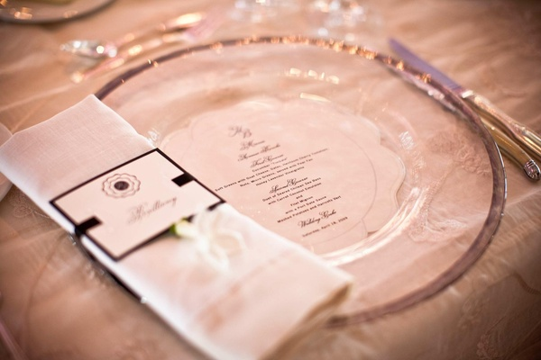 Menu card under clear charger plate