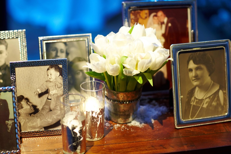 Mercury-glass vessels and arrangement of tulips