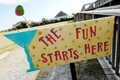 The Fun Starts Here martini party sign