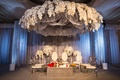 elegant altar floral fixture overhead coffee table colorful blossoms indian hindu wedding california