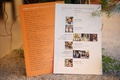 Orange playlist card with song selections and processional list with photos