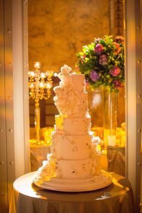 Floral-embellished cake with applique details