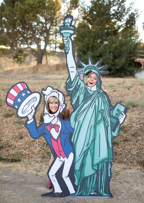 Uncle Sam and statue of liberty cardboard cutouts at bbq