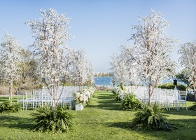 santa barbara wedding ocean view ceremony, white flowers trees in ferns