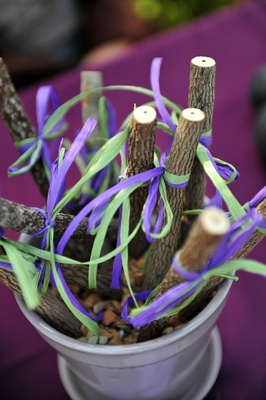 Wishing tree bark pencils with raffia ribbon