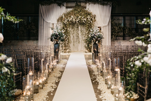 former miss america savvy shields pretty white and greenery wedding ceremony altar drapery flowers