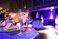 Bride and groom's Champagne flutes with silvery, jeweled stems, couple's names at Adler Planetarium