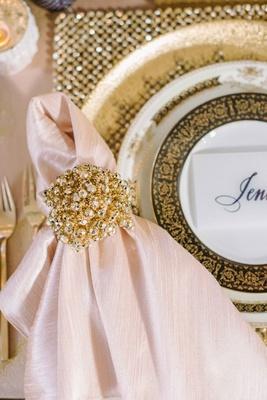 opulent gold and pearl napkin rings