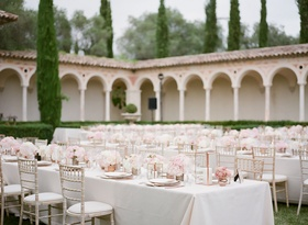 destination wedding at private chateau in the south of france, outdoor reception on lawn
