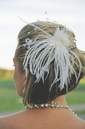 Lace and feathers bridal hair accessory