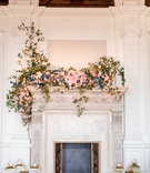 james leary flood mansion san francisco wedding, fireplace mantle with blush flowers, butterflies