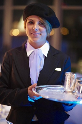Waitress with beret and lavender ascot in French outfit