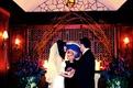 Winter wedding ceremony in hotel wine cellar