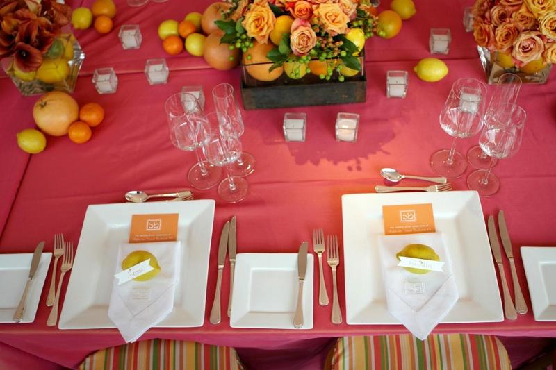 Reception Décor Photos - Vibrant Citrus Tablescape - Inside Weddings