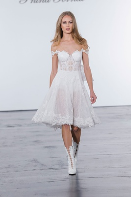 Pnina Tornai for Kleinfeld 2018 wedding dress short gown off shoulder corset bodice a line skirt