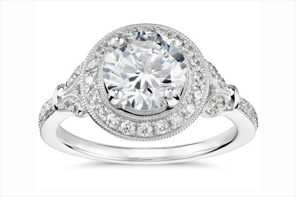 Monique Lhuillier for Blue Nile vintage inspired engagement ring with halo