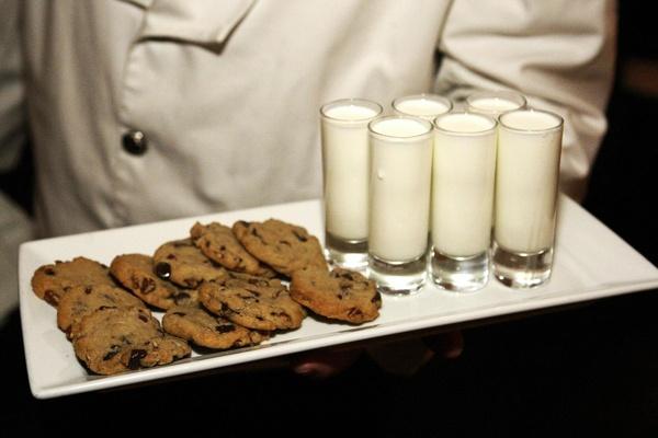 Wedding reception cookie and milk treat