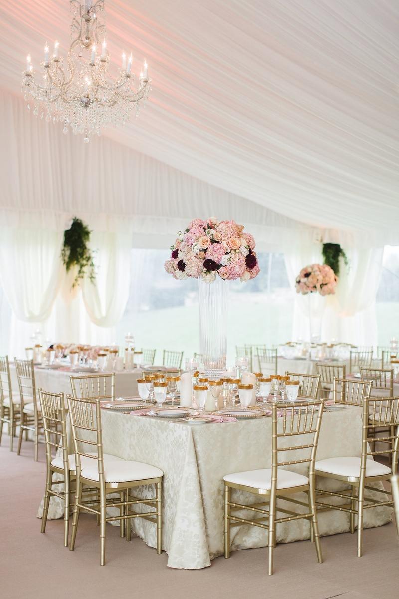 Reception Décor Photos - Glam Tent Wedding with Tall Pink ...