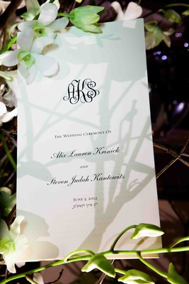 Wedding ceremony program with couple's monogram