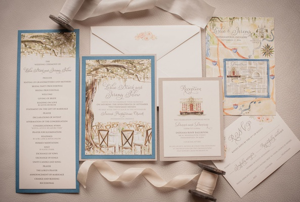 Wedding invitation invite momental designs paper goods blue green tree hand painted pretty details