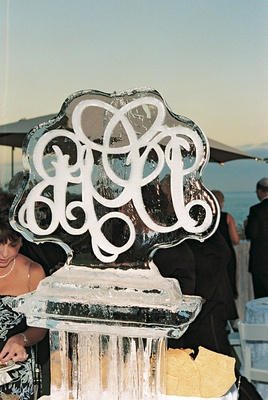 ice sculpture monogrammed with couple's initials