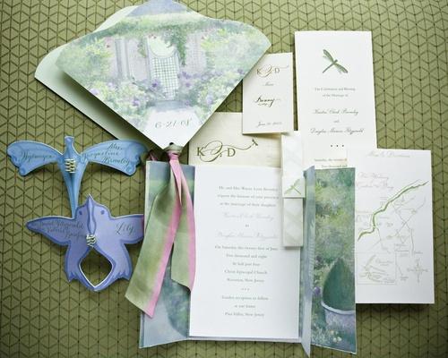 Garden theme wedding invitation, program, and map