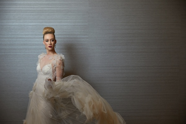 styled shoot wedding gown flowing skirt inbal dror fashion designer top knot inspiration