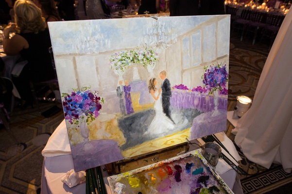 live painting of bride and groom's first dance