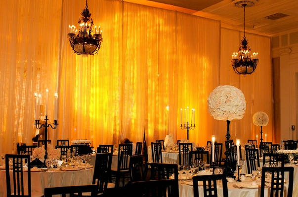 Chandeliers above round guest tables