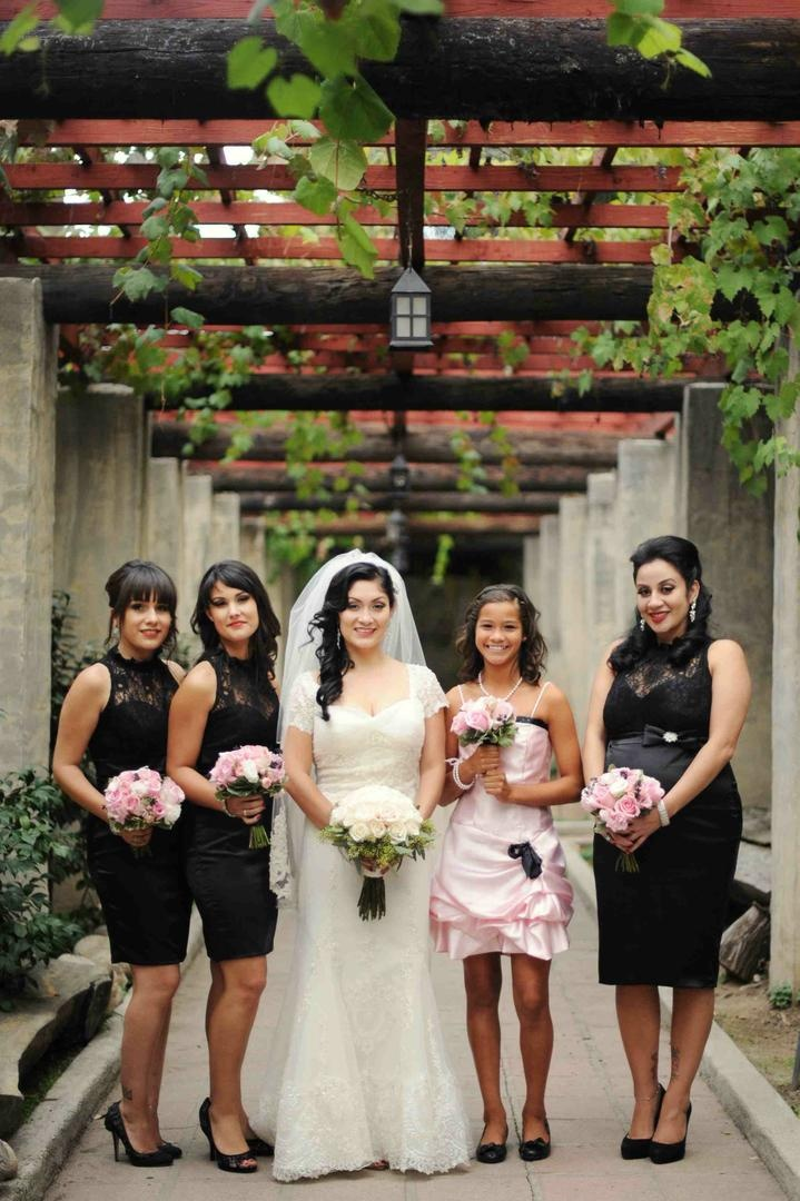 Bride with bridesmaids in black lace gowns