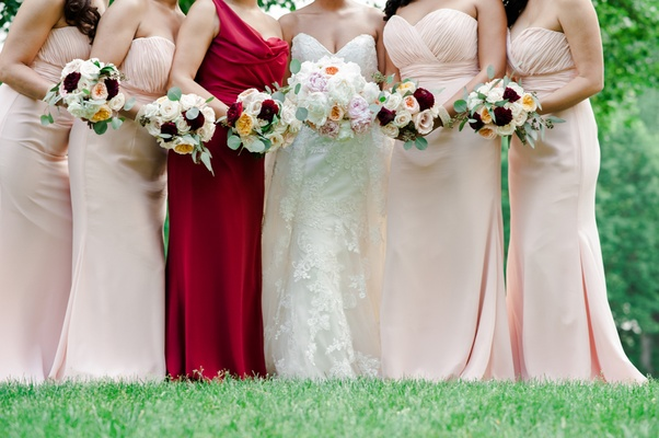 bride bouquet with peonies and garden roses, bridesmaid bouquets marsala burgundy peach blush ivory