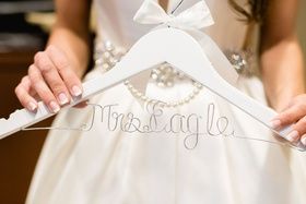Wedding gift idea white hanger with bow and pearls and personalized wire hanger