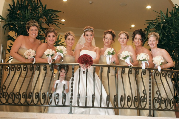 Champagne bridesmaid dresses and bouquets
