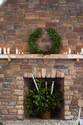 laurel garland, fireplace decorations for rustic wedding candles