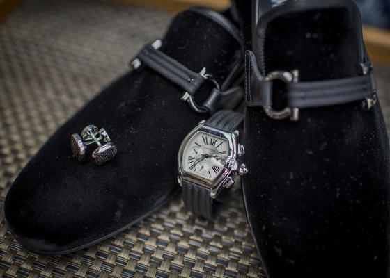 formal men's velvet slippers for tuxedos, cuff links, watch