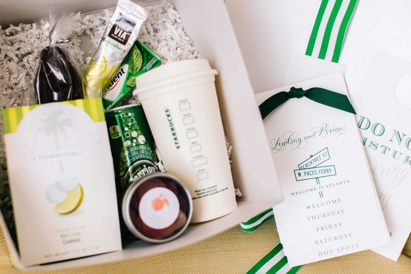 Color coordinated wedding welcome box Starbucks, Perrier, key lime cookies, spearmint gum