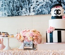 Black & white wedding shower cake with Chanel logo