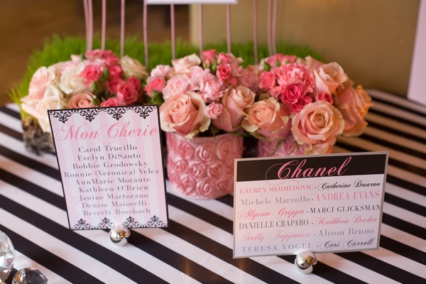 pink flower arrangements and table name cards