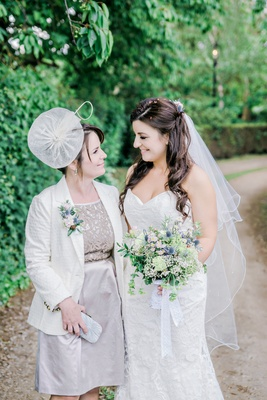 bride wildflower english garden bouquet mother british hat dress fascinator gray silver