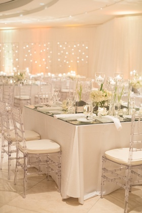 Modern art center reception décor and floral design