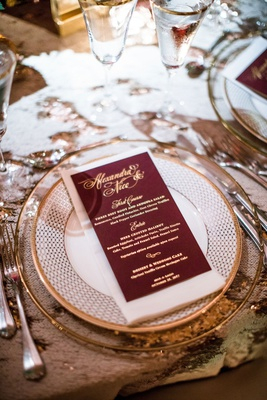 wedding reception menu burgundy menu card with gold foil lettering salad halibut and wedding cake
