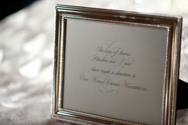 Silver frame with wedding favor description for CBCF donation