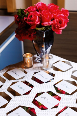 wedding escort card table flower print hexagon card calligraphy roses