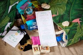tropical welcome bag for palm beach florida destination wedding