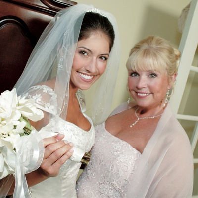 The bride and her mom on wedding day