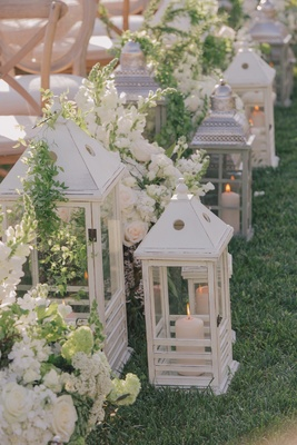 Floral markers at Nick Carter and Lauren Kitt's wedding