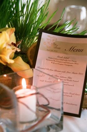 Hawaiian flower motif wedding menu card